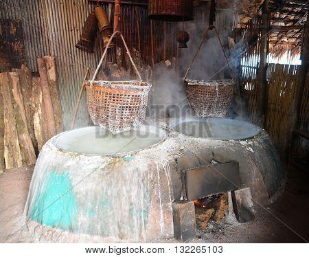 Boiling Salt mountainous of Nan Province Thailand