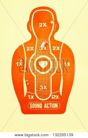 Vector Target (print and shot), background, gun