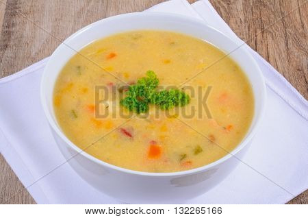 Fish chowder soup including smoked haddock cod salmon and vegetables.