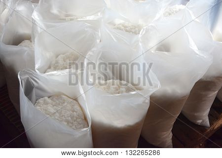 Sea salt in  bag  . Condiment crystals of sea salt
