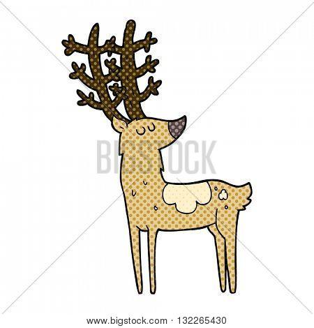 freehand drawn cartoon stag