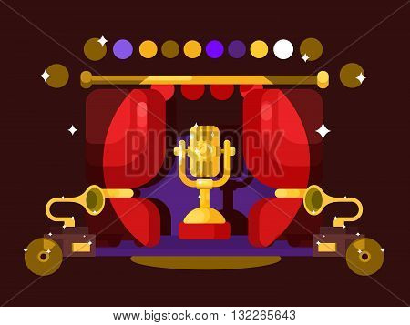 Microphone design flat. Music and audio, sound voice karaoke equipment, vector illustration