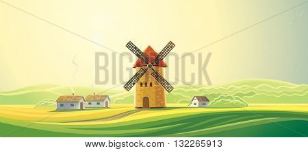 Rural landscape with windmills and houses - bakeries. Summer dawn landscape. Bread baking.