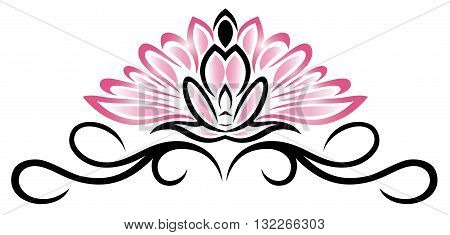 Filigree Lotus flower, floral vector rose, yoga style.