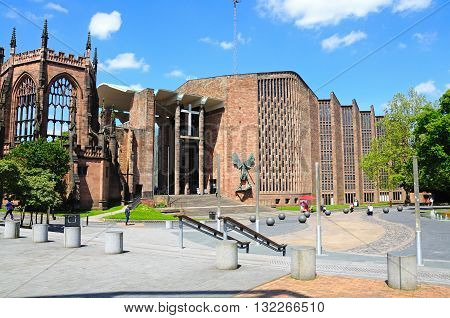 COVENTRY, UK - JUNE 4, 2015 - View of the old and new Cathedrals Coventry West Midlands England UK Western Europe, June 4, 2015.