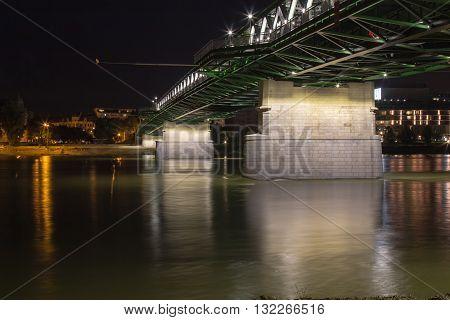 Bratislava, Slovakia - May 29, 2016 Night view on the new opened and renewed Old Bridge across river Danube in Bratislava Slovakia.