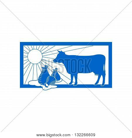 Agriculture breeding dairy cattle with milk and sun inside blue frame vector illustration isolated on white background.