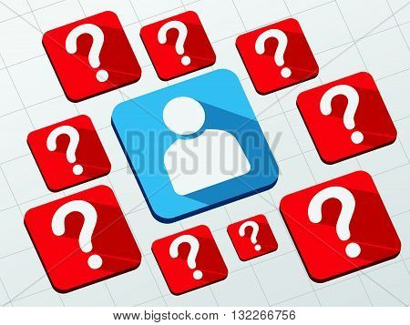 person sign with question marks - white symbols in blue and red flat design blocks, business creative concept, vector