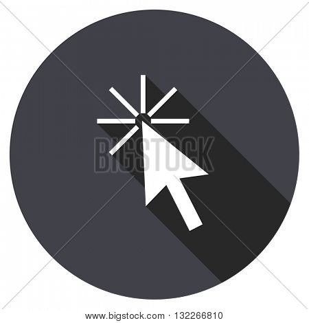 click here vector icon, round flat design button, web and mobile app illustration