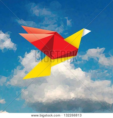 vector red and yellow paper bird