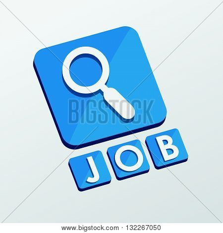 job and search sign - white text with symbol in blue flat design blocks, job seeking concept, vector