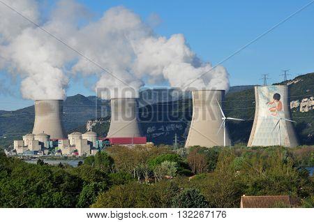 Pierrelatte France - april 14 2016 : the atomic power station of Tricastin