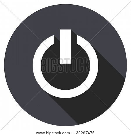 power vector icon, round flat design button, web and mobile app illustration