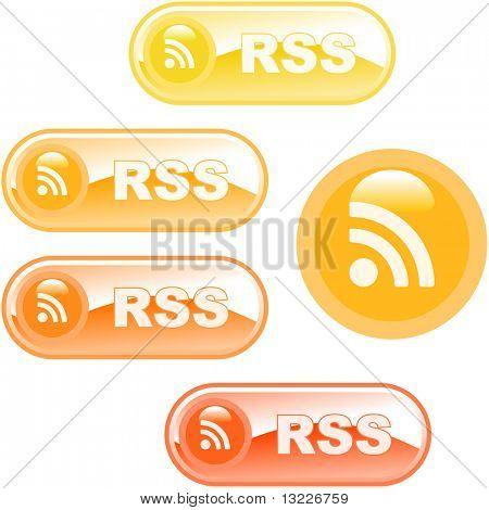 Botones brillantes de RSS. Ilustración del vector.