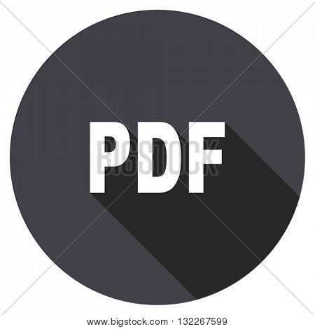 pdf vector icon, round flat design button, web and mobile app illustration