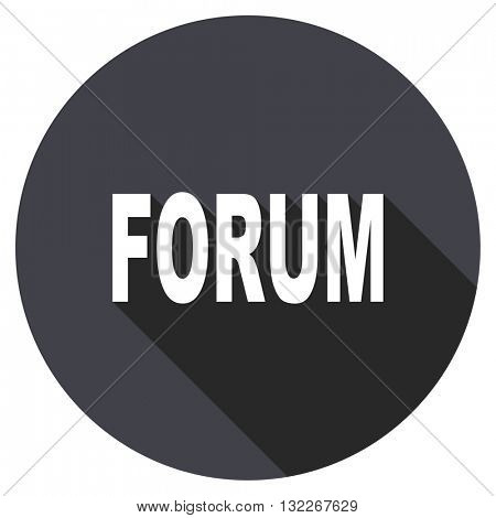 forum vector icon, round flat design button, web and mobile app illustration