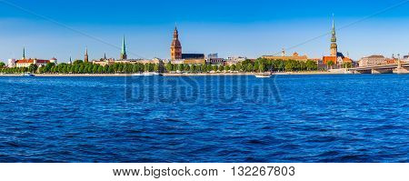 Panoramic View On The Embankment Of The Daugava River: Riga Castle, Riga Cathedral, Saint Peters Chu