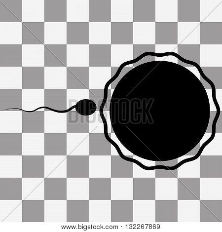 Vector Sperm black Icon on transparent background
