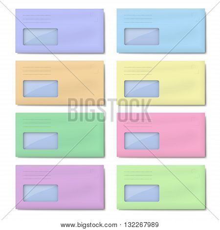 Set of DL color envelopes with window for address isolated on white background
