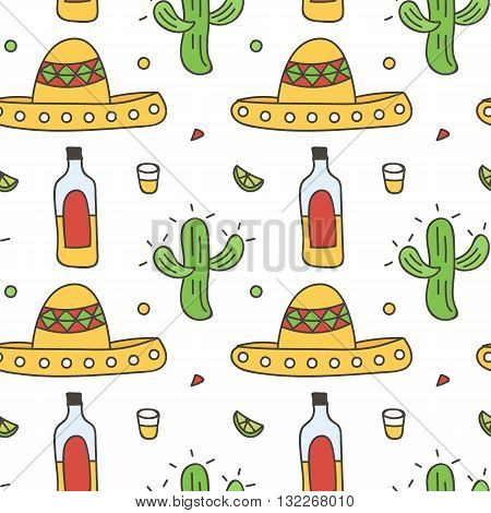 Mexican seamless pattern background with sombrero, tequila, lime, cactus. Cinco de Mayo background.