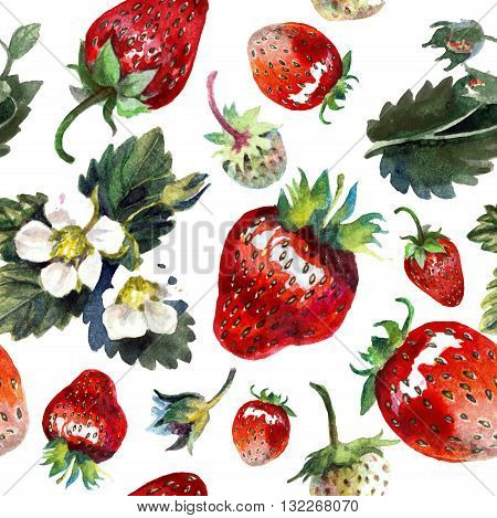 Strawberries isolated on white. Watercolor painting pattern