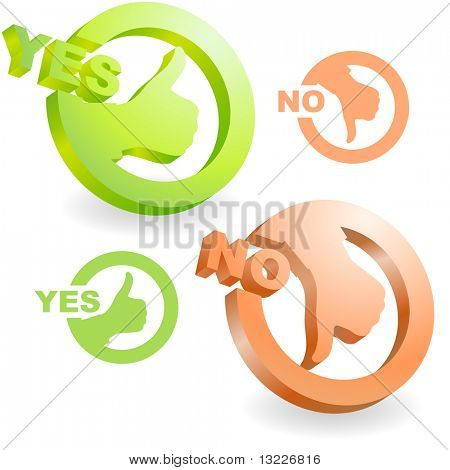 Yes and No icon. Vector beautiful icon set.