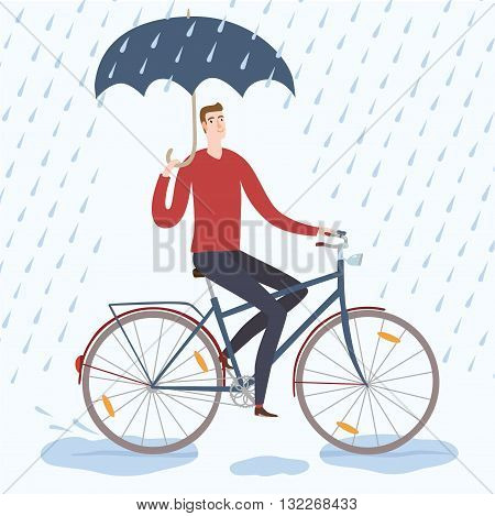 Man with umbrella riding on a bicycle under the rain. Cycling in rainy weather. Hand drawn cartoon illustration.