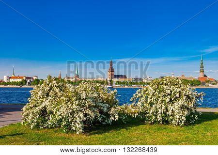 Summer View Of Old Town Of Riga And Daugava River. Riga, Latvia