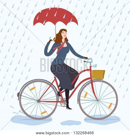 Woman with umbrella riding on a bicycle under the rain. Cycling in rainy weather. Hand drawn cartoon illustration.