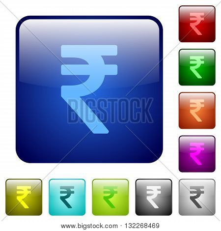 Set of color indian rupee signglass web buttons.