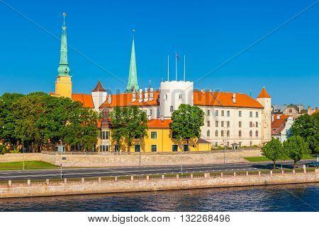 Old Town Of Riga, Riga Castle And Daugava River In Summer Riga, Latvia