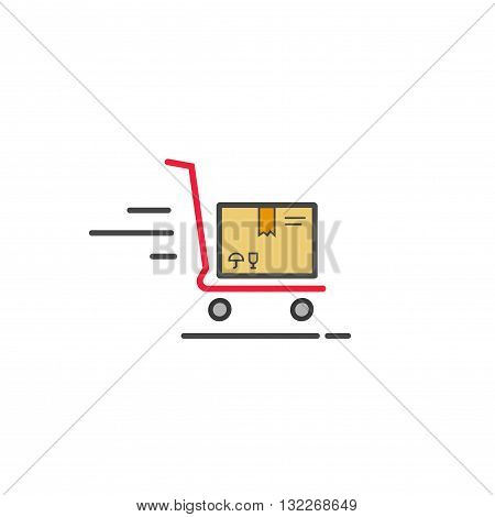 Fast delivery cart with parcel box vector icon, concept of shipping and logistics service icon, flat outline line style isolated on white