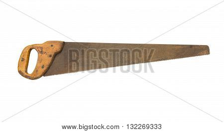 old hand saws isolated on a white background
