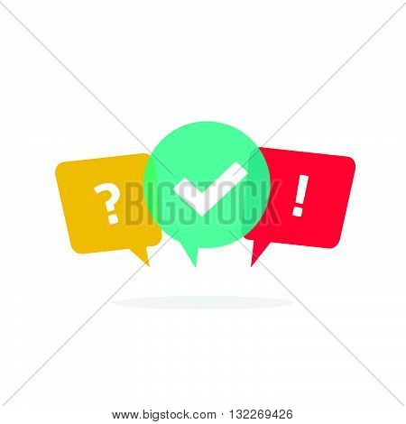 Quiz vector logo isolate on white, questionnaire icon, poll sign, flat bubble speech symbols, concept of social communication, chatting, interview, voting discussion, talk team dialog, group chat,