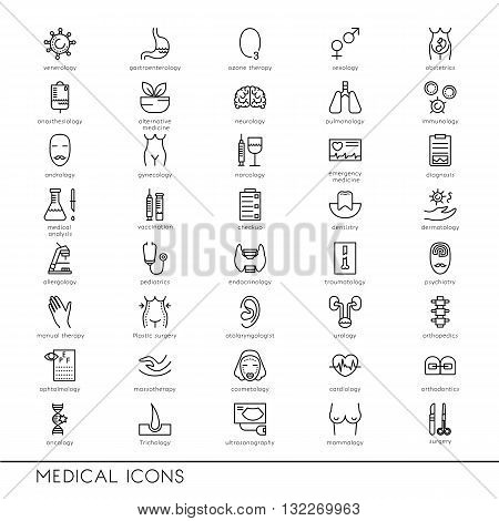 Vector line icons with medical symbols. Medical professions. Line icons of narcology cosmetology obstetrics medical testing and other.