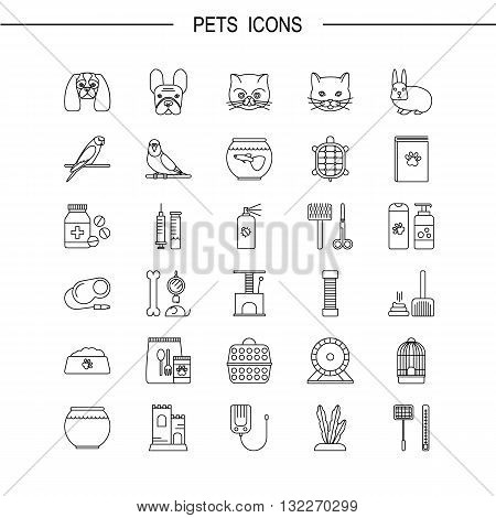 Pets shop icons. Thin lines icon style. It can be used as logo pictogram icon infographic element. Vector Illustration.