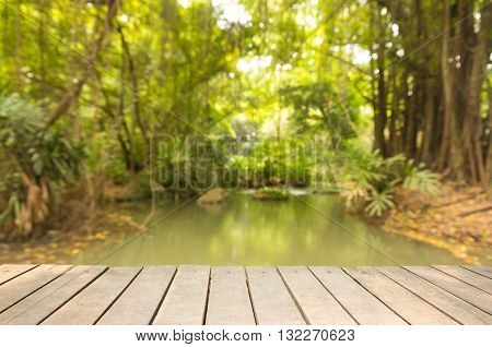 wooden sidewalk with blur of forest and rill background