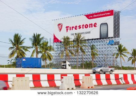 BANGKOK THAILAND - MAY 25 : advertising Firestone on billboard at blue sky background on May 25 2016 in Bangkok Thailand
