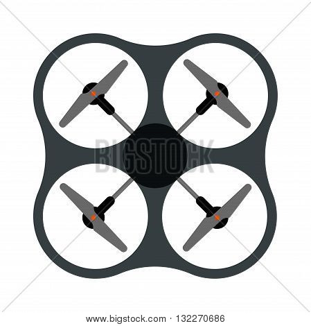 Aerial drone quadrocopters icons and emblems isolated on white. Vector illustration drone helicopter toy packing design. Flight controlled security quadrocopters drone helicopter toy.