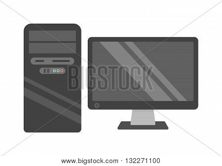 Modern desktop computer with wireless keyboard and desktop computer vector flat illustration. Desktop computer technology screen monitor and office wide wireless communication desktop computer.