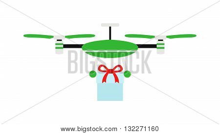Drone quadrocopters icons and emblems isolated on white. Vector illustration drone helicopter toy packing design. Flight shopping quadrocopters drone helicopter toy. Helicopter jift delivery gift box