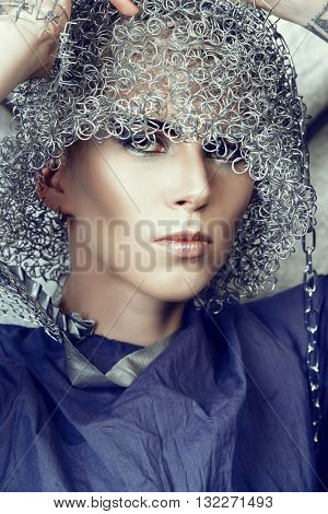 Fashionable designer collection with the use of metal wire. Avant-garde style. Futurism.