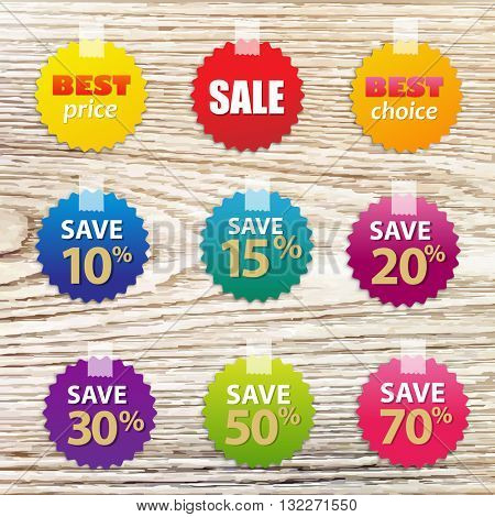 Big Colorful Sale Tags With Wood Background