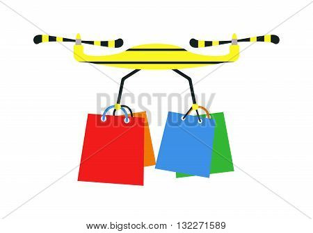 Drone quadrocopters icons and emblems isolated on white. Vector illustration drone helicopter toy design. Flight shopping quadrocopters drone helicopter toy. Helicopter jift delivery shopping bag box