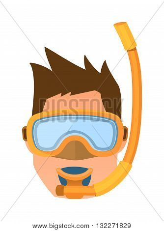 Female scuba diver face and cartoon diver face vector illustration. Ocean scuba underwater sea sport diver face and dive leisure activity deep diver face. Diver face active lifestyle diver equipment.
