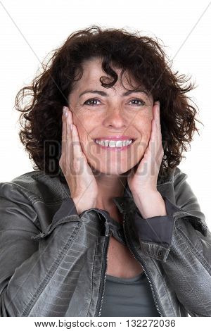 Woman Checking Her Wrinkles On Her Forehead - Isolated