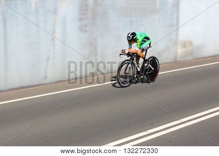 APELDOORN, NETHERLANDS-MAY 6 2016: Francesco Manuel Bongiorno of pro cycling team Bardiani - CSF during the Giro d'Italia prologue time trial.