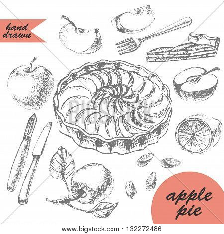 Hand drawn apple tart and ingredients for dessert recipe. Apple half apple slice lemon almonds peeler knife fork cake cut Pencil sketch illustration.