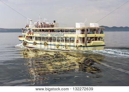 Kornati, Croatia - Sept 4, 2015: Cruise ship at sea on a beautiful day with blue sky in Kornati Park, Sept 4, 2015