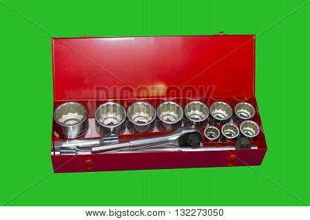 Box wrench with head bits for fix truck isolated on green background